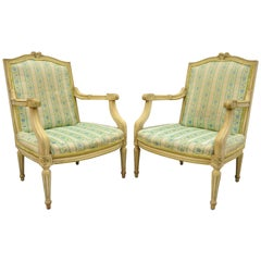 Pair of French Louis XVI Provincial Style Cream Painted Armchairs Fauteuils