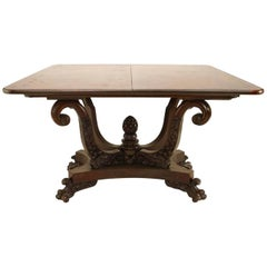 American Empire Mahogany Flip-Top Console Table