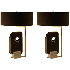 "Pair of ""Tre Piastre"" Lamps, Brass, Iron and Travertine, Italy, 2016"