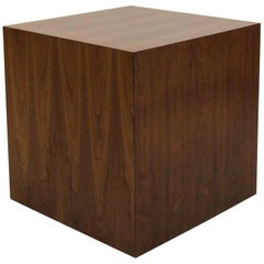 Large Midcentury Walnut Cube Table Pedestal by Dunbar