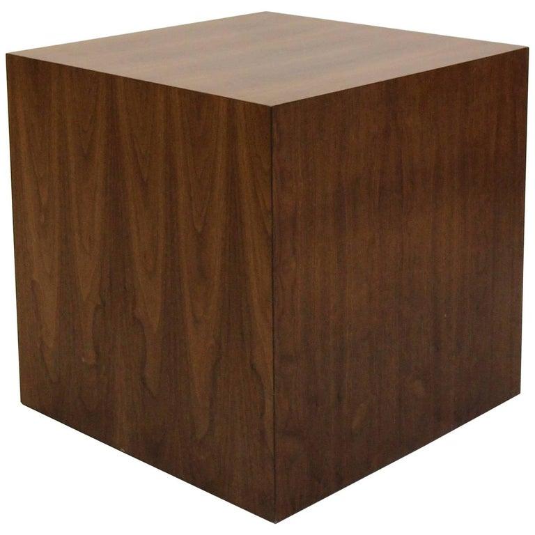 Large Midcentury Walnut Cube Table Pedestal by Dunbar