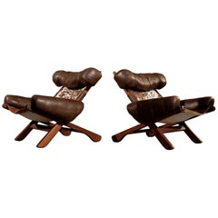 Pair of Danish Armchairs with Cowhide, 1960s