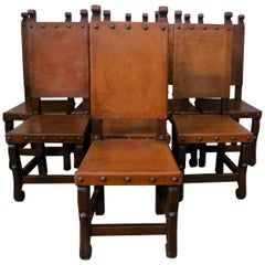 Set of Eight Spanish Leather Dining Chairs, circa 1920s