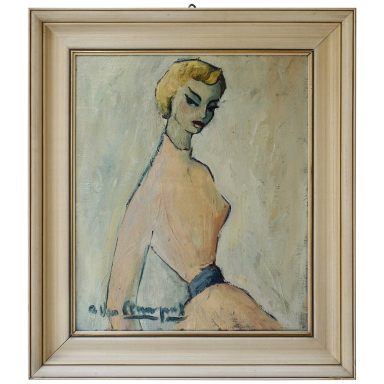 Painting of a Woman by a Van Leemput For Sale