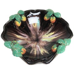 Art Deco Ceramic Glazed Fruit Bowl with Strawberries, 1930s, Germany