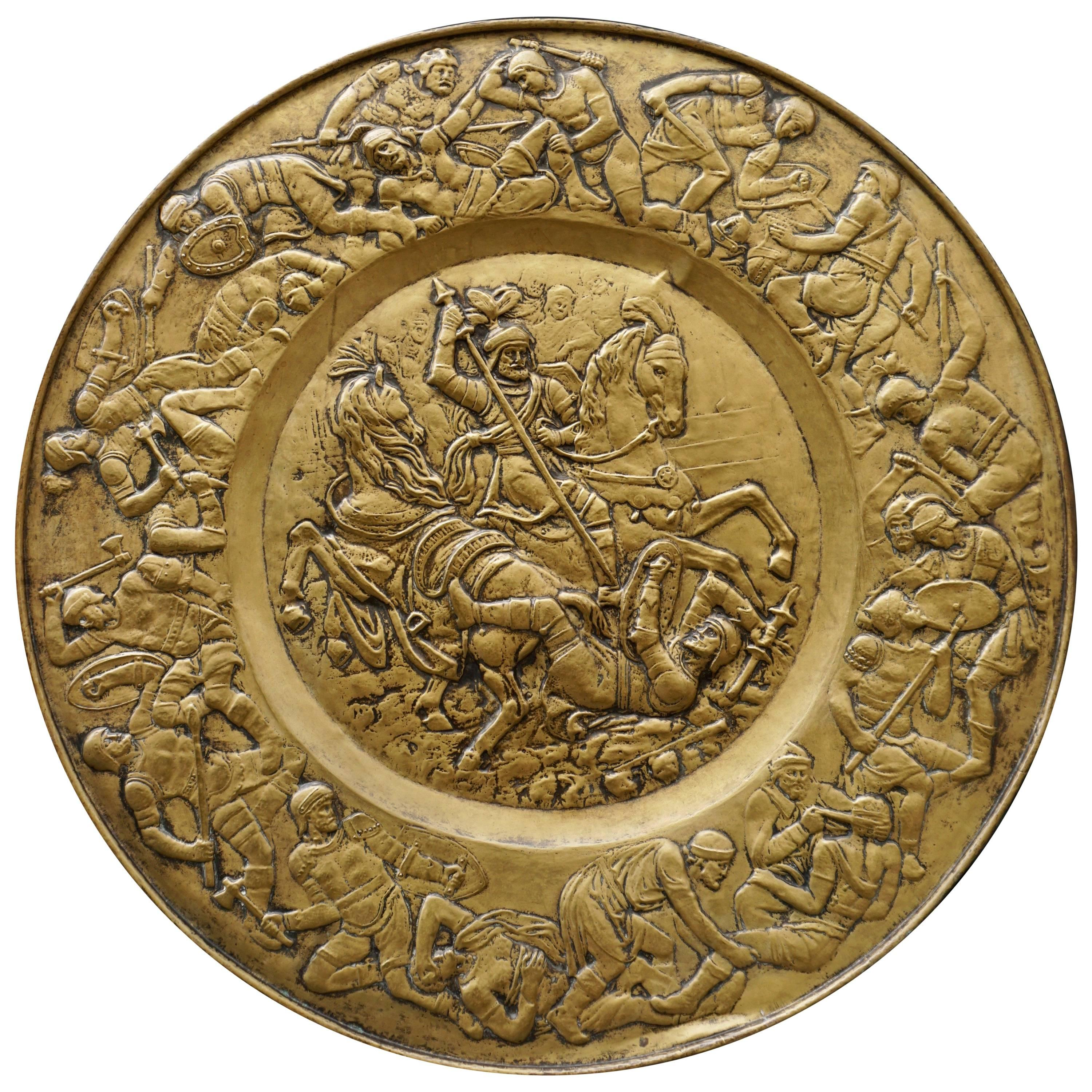 Hammered Copper Wall Relief Sculpture with Roman Warriors