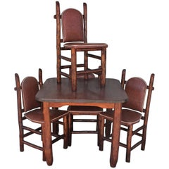 Rustic Old Hickory Game Table and Chairs