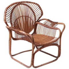 1960s French Bamboo Large Scale Armchair