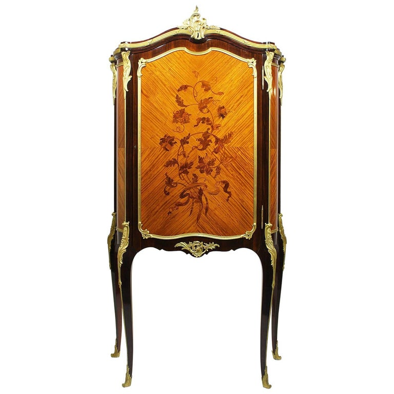 French 19th-20th Century Louis XV Style Gilt-Bronze Mounted & Marquetry Cabinet