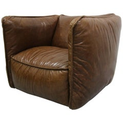 Oversized Cigar Leather Club Chair