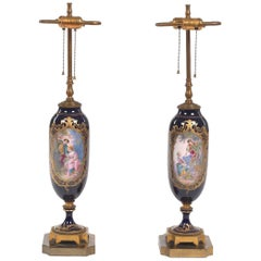 Pair of Sèvres Style Ormolu-Mounted Urns, Now as Lamps