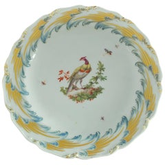 Dessert Plate with Fancy Bird, Chelsea Gold Anchor, circa 1765
