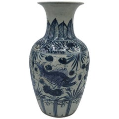 Early 20th Century Blue and White Vase with Fish Motif and Calligraphy