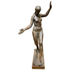 Classic Female Art Deco Bronze Statue by Listed Belgian Artist M. D'haveloose