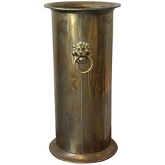 19th Century English Brass Umbrella Stand with Lion Head Pulls