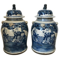 19th Century Blue and White Temple Jars with Ornate Scenery Motif, Pair
