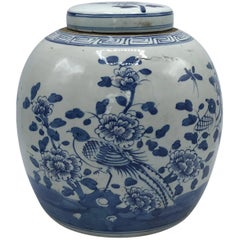 19th Century Blue and White Ginger Jar with Bird and Floral Motif