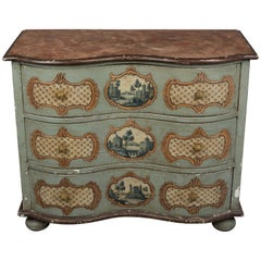 19th Century German Serpentine Painted Chest