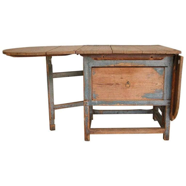 Allmoge, 19th Century Drop-Leaf Table with Drawer, Circa 1820, Origin: N. Sweden