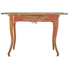 Charming Rococo Swedish Table with Boat Carved Drawer, Circa 1770