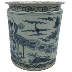 19th Century Blue and White Cachepot Planter with Peacock and Floral Motif