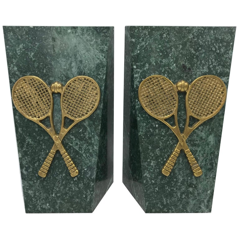 1970s Italian Marble Bookends with Brass Tennis Racket Motif, Pair