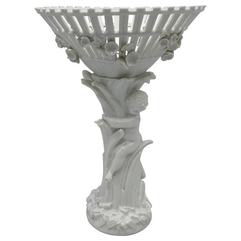 1940s Italian Ceramic Compote with Sculptural Cherub Motif