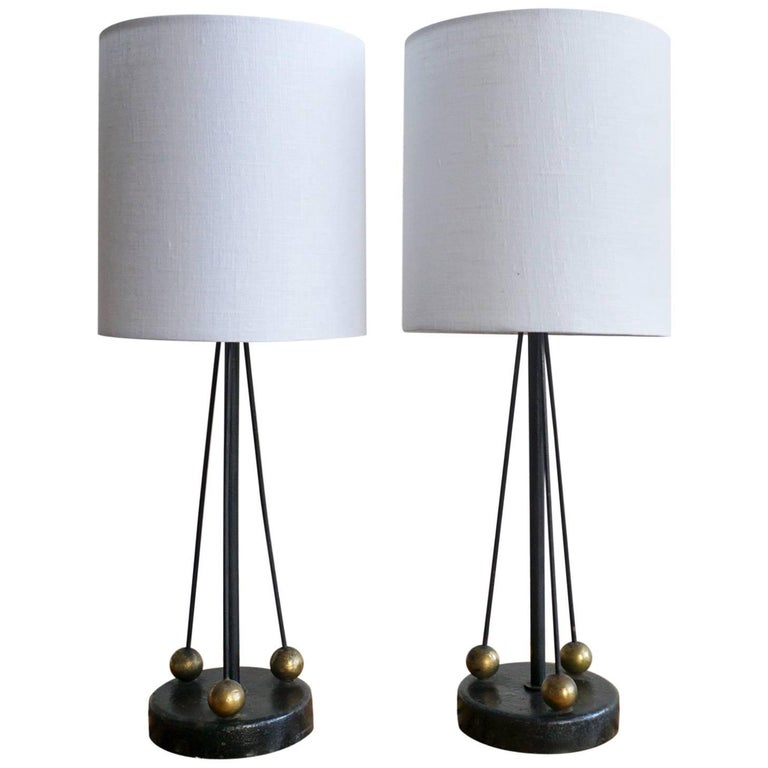 Pair of Iron Lamps with Brass Balls, 1950s