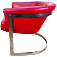 Single Milo Baughman Barrel Back Lounge Chair in Custom Red Leather