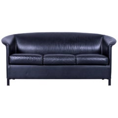 Wittmann Aura Designer Black Leather Three-Seater Sofa or Couch