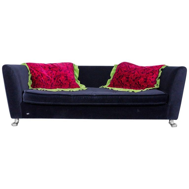 Bretz Monster Velvet Fabric Black Three-Seater Chaise Lounge or Sofa