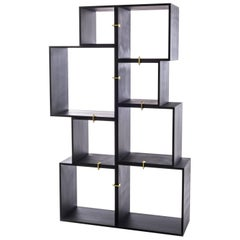 "Lacquered Modules in Wooden ""Assemblage"", Set of Eight Modules in Anthracite"