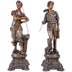 Pair of Art Nouveau Figurines 'The Miner & the Blacksmith', France, circa 1900