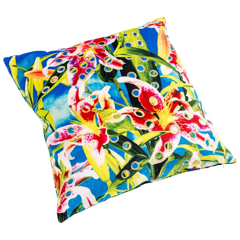 """Seletti Polyester Cushion by """"Toiletpaper"""", Flowers With Holes For Sale"""