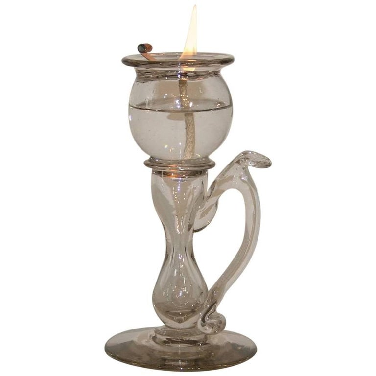 19th Century French Glass Weavers Oil Lamp For Sale