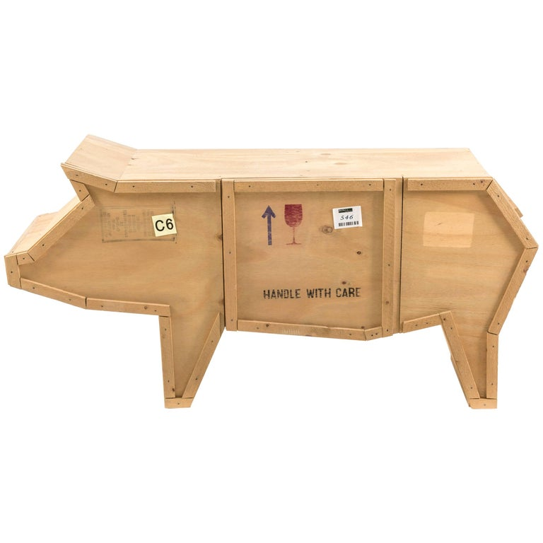 """Seletti """"Sending Animals"""" Wooden Credenza, Pig For Sale"""