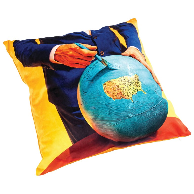"""Seletti Polyester Cushion by """"Toiletpaper"""", Globe For Sale"""