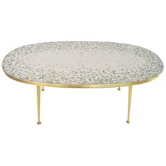 German Mosaic and Brass Coffee Table by Berthold Muller, 1960s