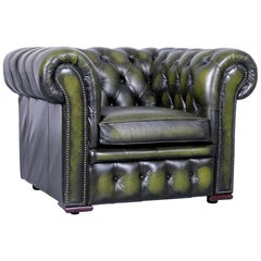 Vintage Green Chesterfield Leather Buttoned Clubchair