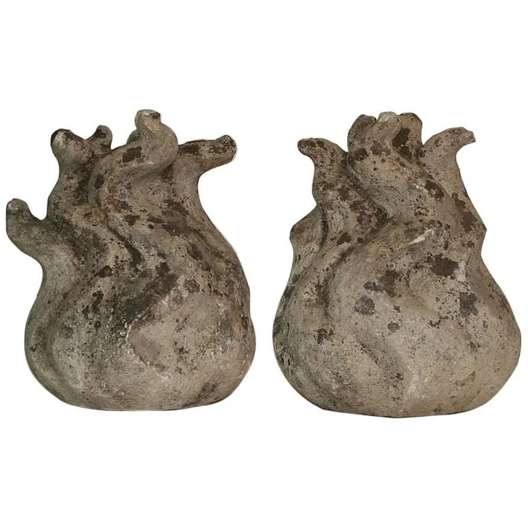 Pair of French 18th Century Carved Stone Flame Ornaments