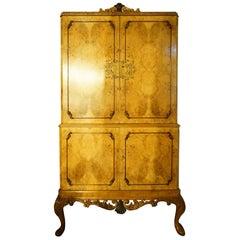 Midcentury Burr Walnut Cocktail Cabinet
