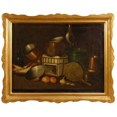 Spanish Still Life Painting Oil on Canvas with Gilt Frame from 20th Century