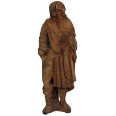 French Medieval Gothic Oak Statue of Saint Roch