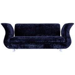 Bretz Moon Sofa Velvet Fabric Black Three-Seater Chaise Longue