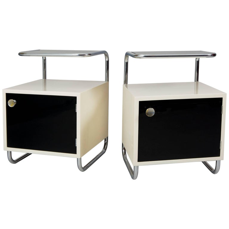 Pair of Black & White Functionalism Bed-Side Tables, Maker Vichr, Czechoslovakia For Sale