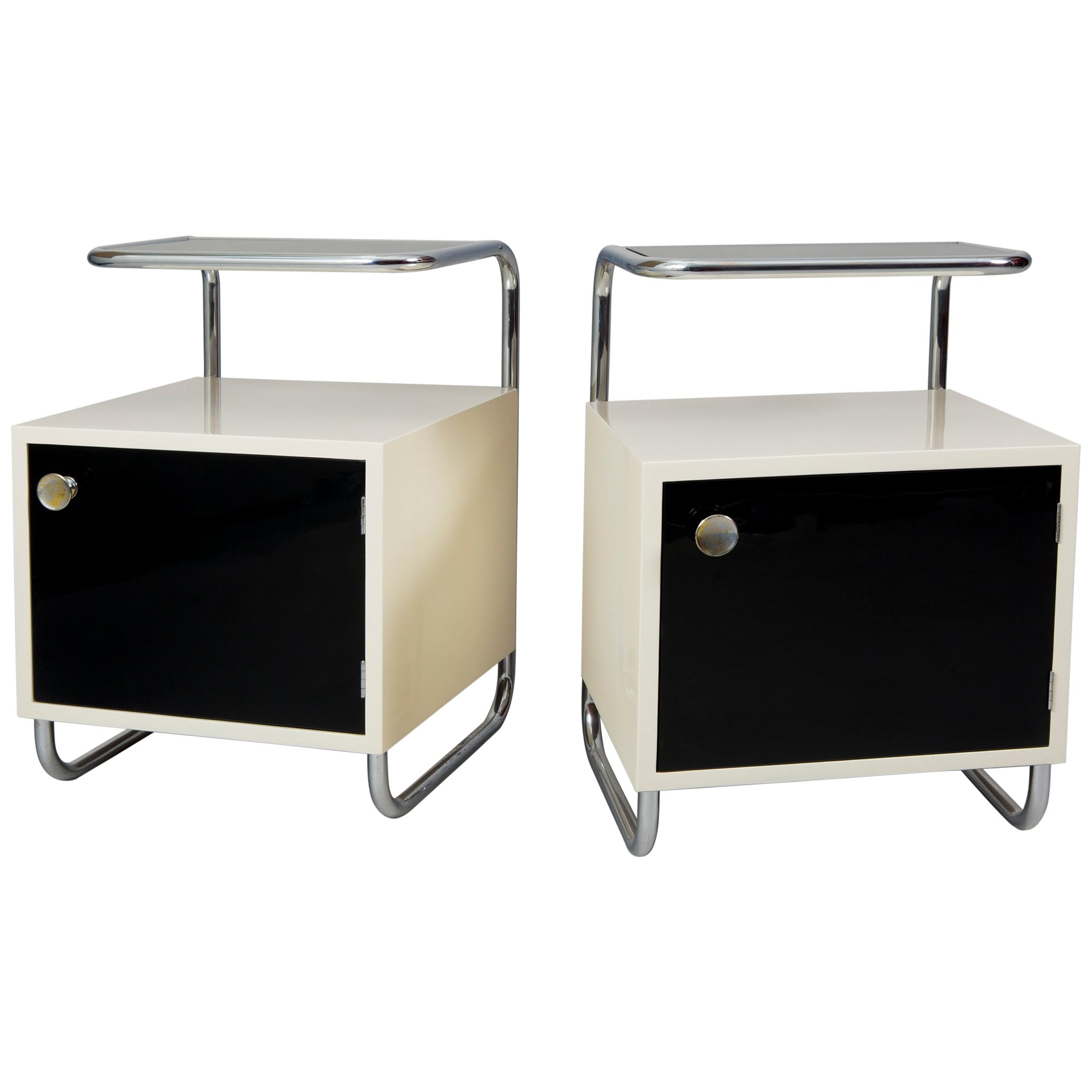 Pair of Black & White Functionalism Bed-Side Tables, Maker Vichr, Czechoslovakia