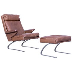 COR Swing Leather Brown One-Seater Set + Foot-Rest