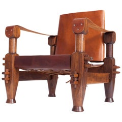 Brutalist Brazilian Armchair in Cognac Leather