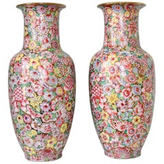 Pair of 1930s Chinese Millefleurs Porcelain Vases