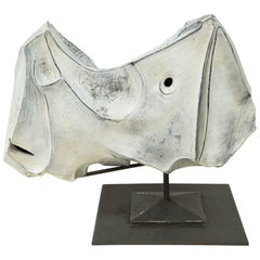 "Marcello Fantoni, ""Rhinocero"" Sculpture in Ceramic, Italy, 1973"